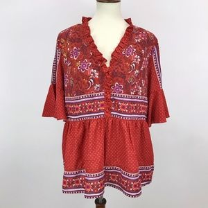 Time and Tru Red Floral Paisley Boho Babydoll Top